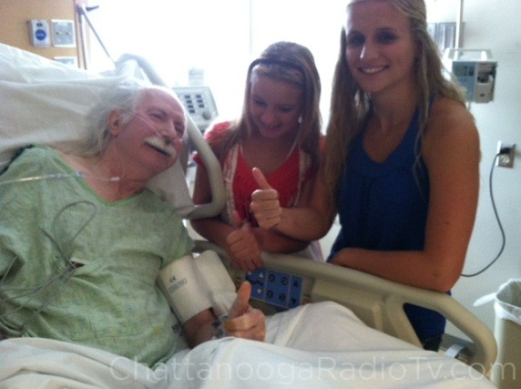 Tommy with two of his granddaughters, July 6, 2012