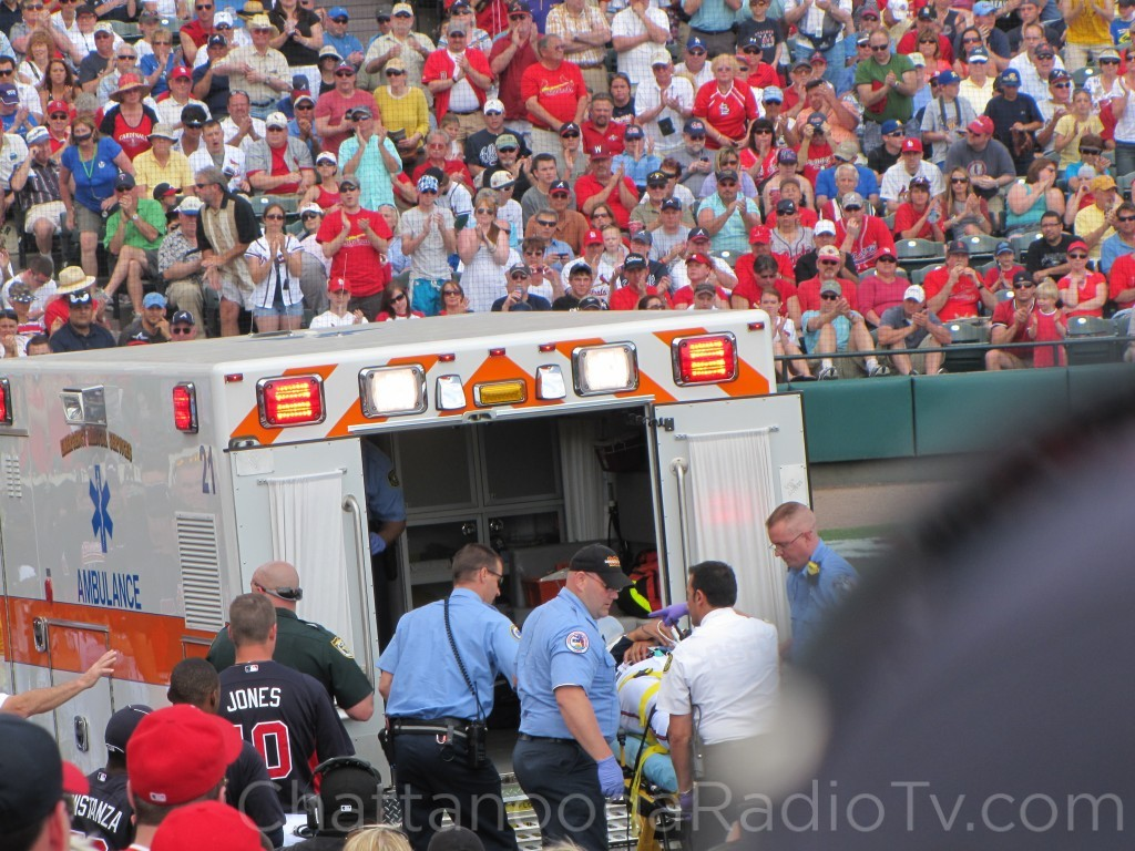 Luis Salazar is loaded into ambulance, March 9, 2011