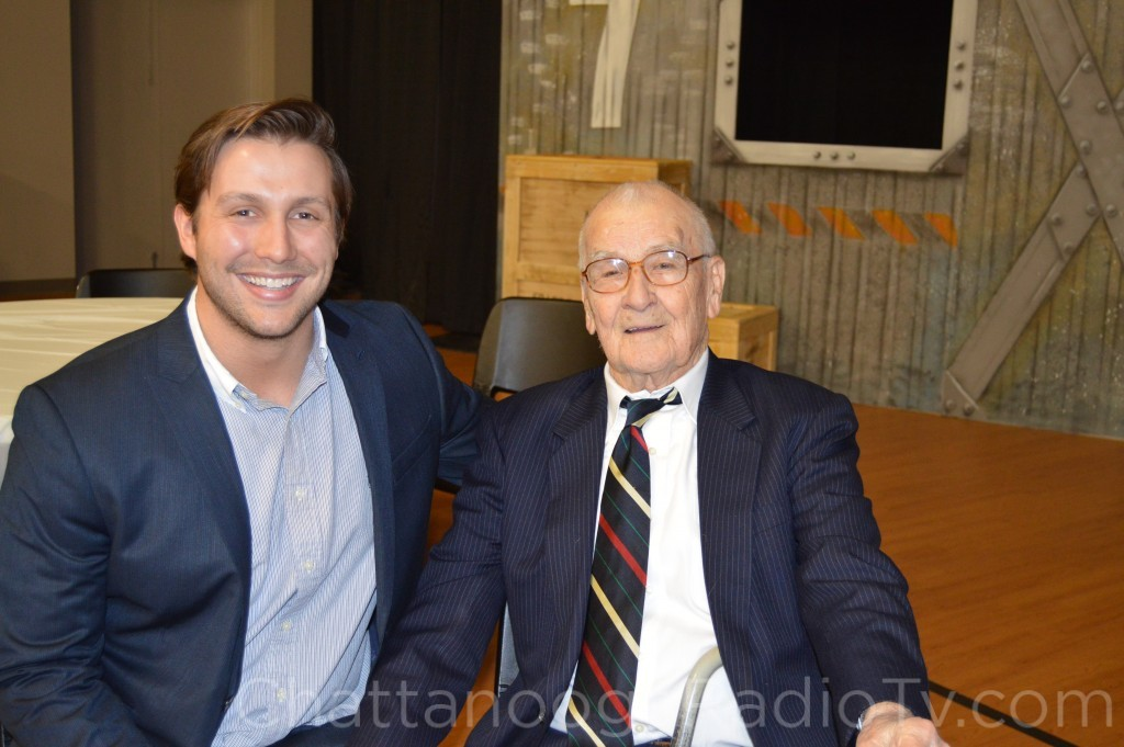 Kyle Ogle, and granddad Claude Ogle Sr. on his 100th birthday, Feb. 22, 2015