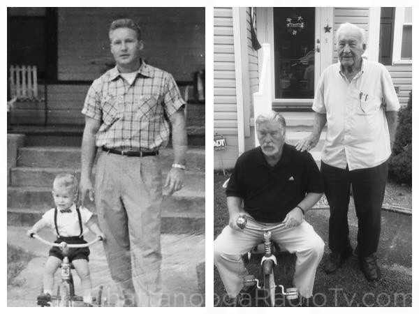Left: Kenny and Ken Smith in 1955.  Right: same guys, 60 years later in 2015!