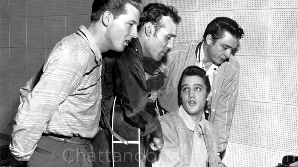 Jerry Lee Lewis, Carl Perkins and Johnny Cash, with Elvis Presley at the piano. Sun Records, Dec. 4, 1956